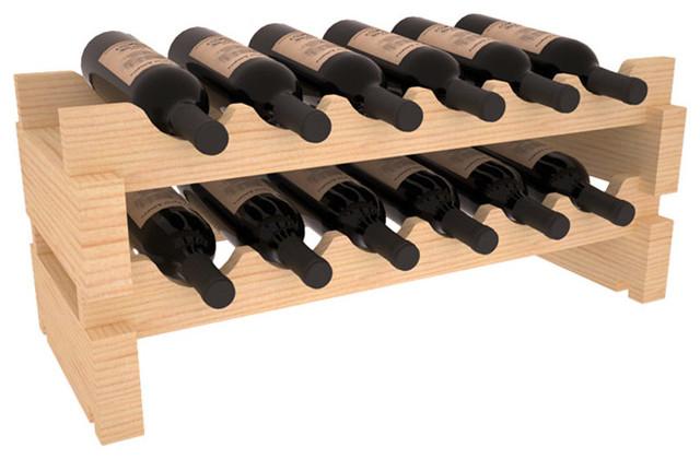 12-Bottle Mini Scalloped Wine Rack in Pine contemporary-wine-racks
