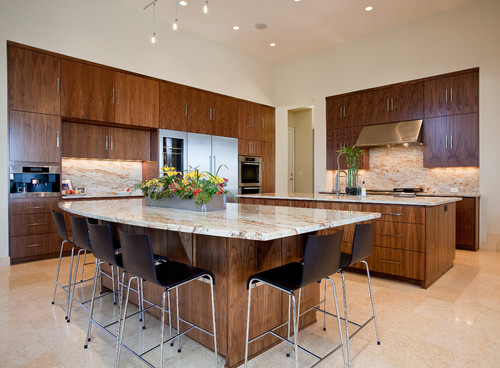 Walnut cabinets match with silky road Astoria granite countertop