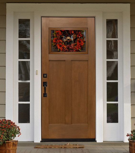 Fir craftsman entry door mediterranean front doors for Front door with window