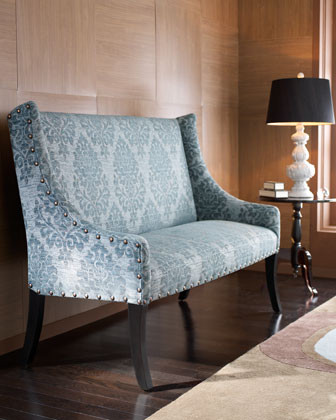 """""""Cate"""" Damask Settee traditional-loveseats"""