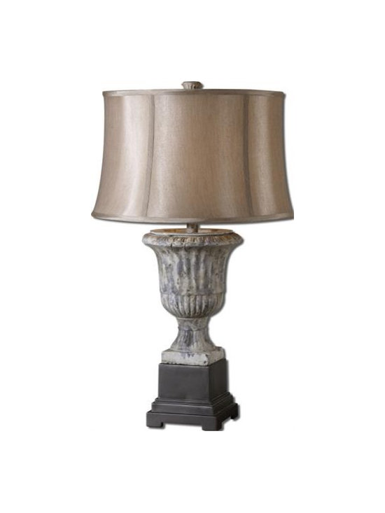 Uttermost Ofena - Heavily distressed ash gray ceramic base with matte black details. The round semi bell shade is a silken champagne bronze fabric