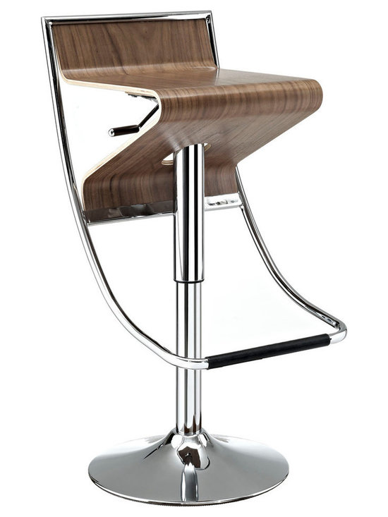 Modway Furniture - Modway Zig-Zag Barstool in Walnut - Barstool in Walnut belongs to Zig-Zag Collection by Modway With its visually compelling design and sturdy steel frame, the Zig-Zag Bar Stool is in a category of its own. Enjoy the diametric curvature of the walnut plywood seat, as you comfortably position yourself using the convenient footrest below. The seat adjusts using a hydraulic piston to accommodate both bar or counter height tables. Easily exit Zig-Zag by swiveling away from the countertop instead of the more tedious method of pushing the chair back and away. Perfect for entertaining guests at home, or for stylish seating in bars and other commercial areas. Set Includes: One - Zig-Zag Height Adjustable Bar Stool in Natural Barstool (1)