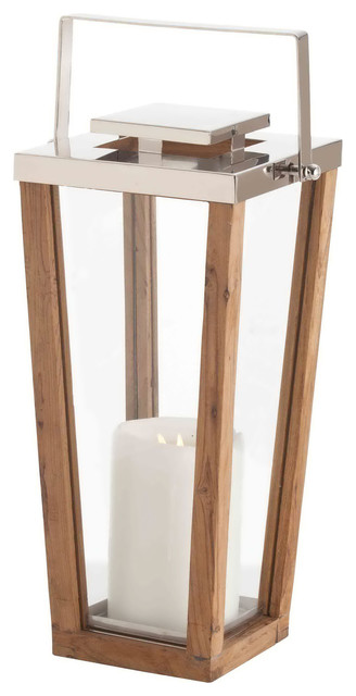 Zeke Coastal Beach Small Modern Light Wood Silver Floor Candle Lantern ...