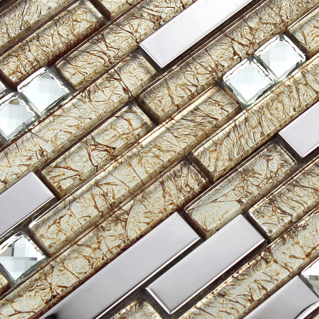 Stainless Steel Pattern Gray Glass Mosaic Tile: Stainless Steel Tiles With Porcelain Base Glass Mosaic