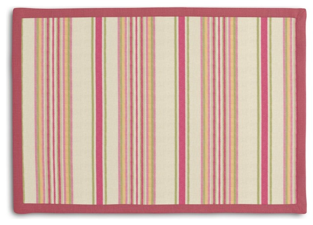 Pink & Green Stripe Tailored Placemat Set contemporary-placemats
