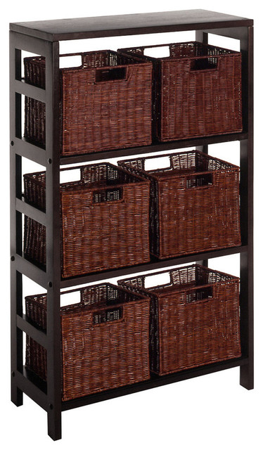 Winsome Wood Leo 7 Piece Shelf & Baskets contemporary-storage-units-and-cabinets