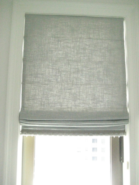 Silver metallic linen roman shade with silver crystal for Linen shades window treatments