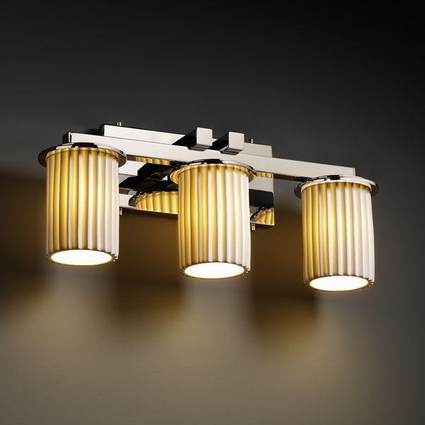 Justice Design POR-8773-10-PLET-CROM Dakota 3-Light Straight-Bar Bath Bar bathroom-lighting-and-vanity-lighting
