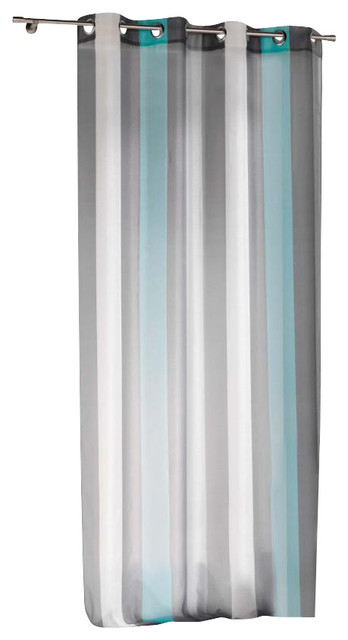 Striped sheer grommet curtain panels riviera turquoise - White and turquoise curtains ...