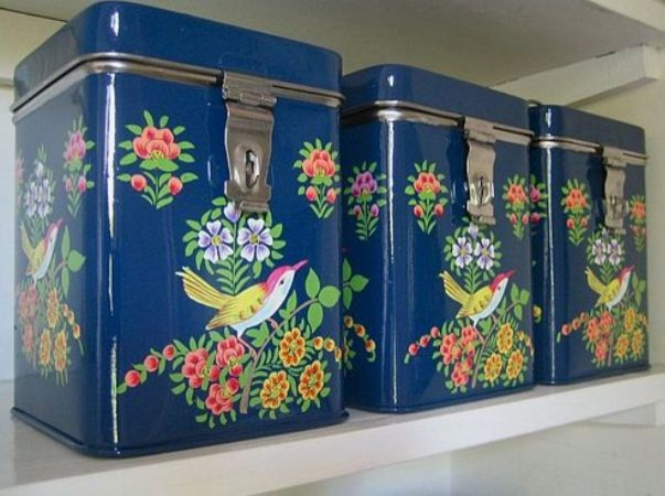 Hand Painted Kashmiri Tin eclectic food containers and storage