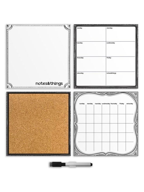 """Brewster Home Fashions - White 4-Piece Organizer Set Decals - Get organized and look sharp with this chic black & white kit. The timeless contrast of black and white lends a clean and stylish look to walls while also providing the perfect space to stay on top of a busy schedule. A dry-erase monthly calendar weekly planner and message board are accompanied by a cork board to tack up memories photos and more. The kit also includes 6 oversized pins to add your own photos keepsakes and more to the wall. Each of the organizer kit pieces are 13"""" x 13""""."""