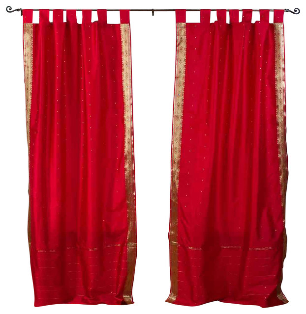 Pair of Fire Brick Tab Top Sheer Sari Curtains, 80 X 63 In. eclectic-curtains