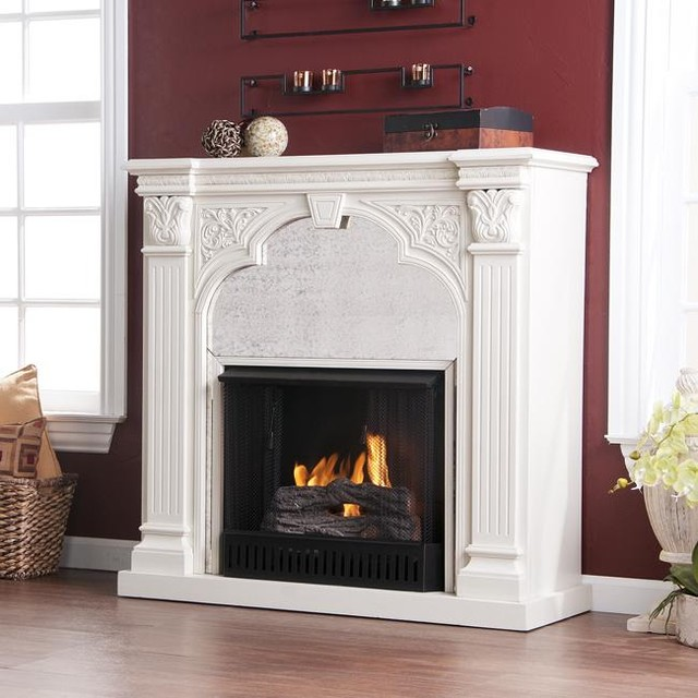 Kidwell Antique White Gel Fuel Fireplace Modern Indoor Fireplaces By Overstock Com