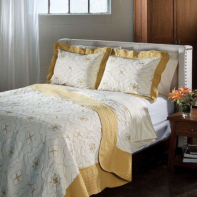 Lace Embroidered Cotton Gold 3-piece Quilt Set contemporary-quilts