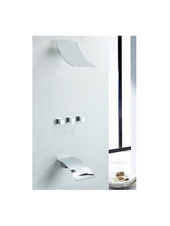 Shower Faucets - Contemporary Wall Mount Rain Shower Faucet (Chrome Finish)--FaucetSuperDeal.com