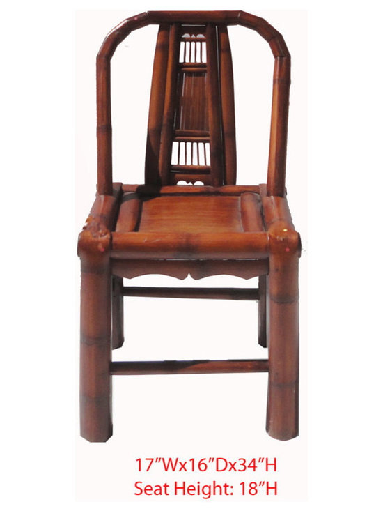 "Chinese Antique Brown Bamboo Chair - Dimensions: 17""Wx16""Dx34""H (Seat Heigt: 18"")"