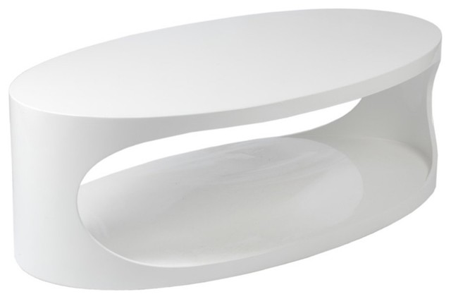Euro Style Carrie White Oval Coffee Table