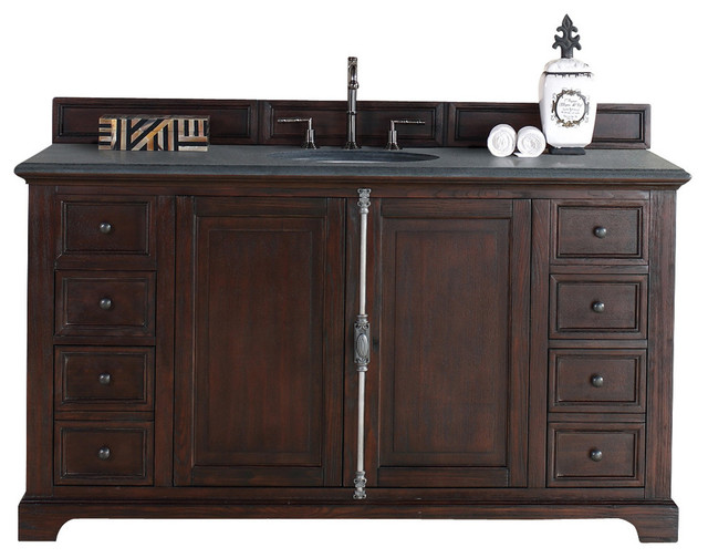 Providence 60 Sable Single Vanity With Absolute Black Rustic Stone Top