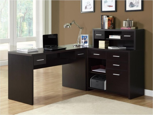 Cappuccino Hollow-Core L-Shaped Home Office Desk contemporary-desks