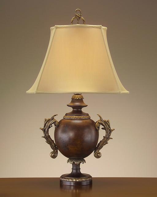 John Richard 37'' Burled Wood W/Brass Arms contemporary-table-lamps