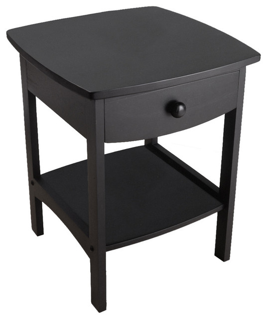 Winsome Wood 20218 Curved End / Night Table with Drawers in Black traditional-side-tables-and-end-tables