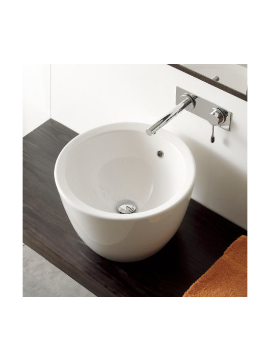 "Scarabeo - Circular Above Counter Ceramic Vessel Sink by Scarabeo - Beautiful circular contemporary bathroom sink made of high quality white ceramic. Round above counter vessel sink with overflow designed and manufactured in Italy by Scarabeo. Has no predrilled faucet holes. Sink dimensions: 18.10"" (width), 11.80"" (height), 18.10"" (depth)"