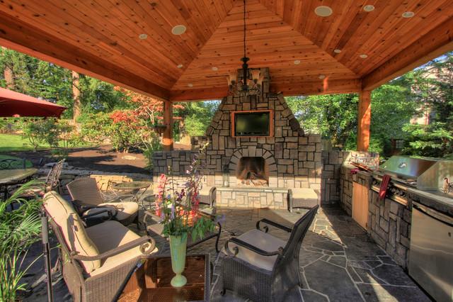 Outdoor Living Gazebo Outdoor Fireplace Water Feature