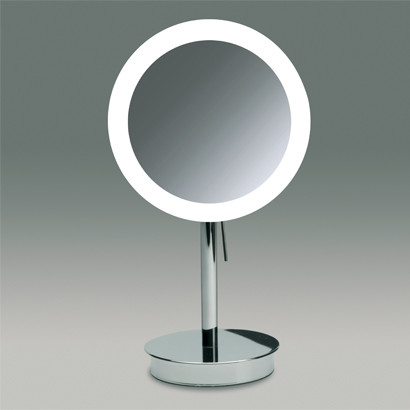 Round Pedestal Lighted 3x Or 5x Chrome Or Gold Magnifying Mirror Contemporary Bathroom