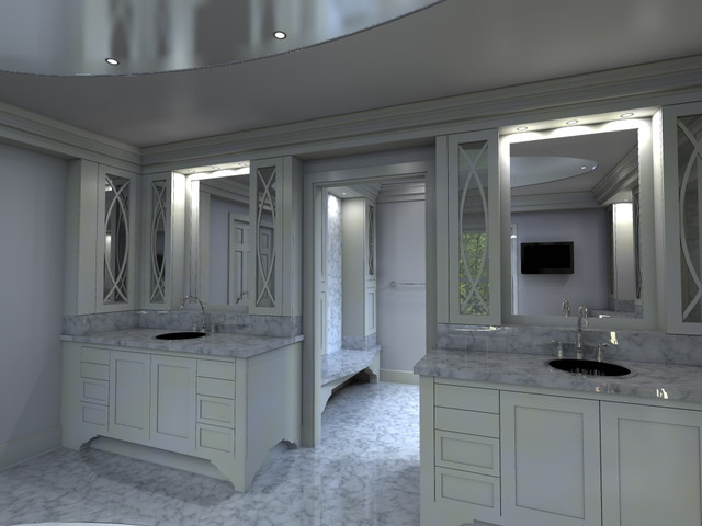 Computer designed luxury master bath and walk in closet for Master bathroom designs with walk in closets