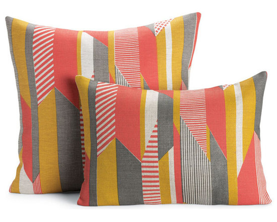 "Textured Stripe Pillow, Pink | Designed by Tamasyn Gambell - After graduating from the Royal College of Art and Design in London, textile designer Tamasyn Gambell headed to Paris, where she mastered her trade at couture houses such as Sonia Rykiel and Louis Vuitton. In 2007 she relocated to Stockholm to explore the opposite end of the spectrum as a print designer for H&M, launching her own company a year later. A true contemporary modernist, Gambell believes that good design and green design go hand in hand. ""I use the most eco-friendly materials and processes,"" she says, ""as I believe that designers have a responsibility to the environment and that being green does not have to compromise style or quality."" In creating her Textured Stripe Pillow (2012), Gambell was inspired by the colors and energy of tribal textiles and the shapes and simplicity of iconic Bauhaus design. The result is a collection of throw pillows that defy the whims of fashion. The fabric is sourced from one of the last linen mills in Ireland and printed by Gambell and her team in South London. Made in the U.K."
