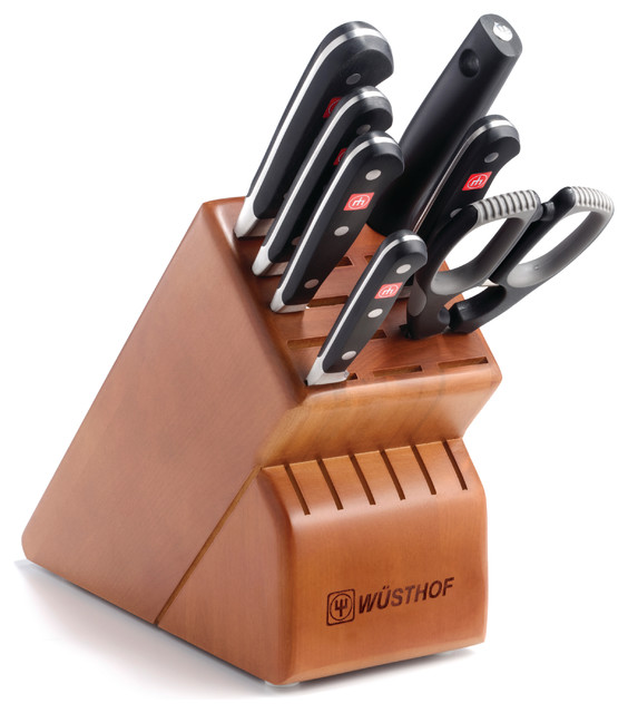 Wusthof Classic Eight Piece Deluxe Block Set Cherry contemporary-knife-sets