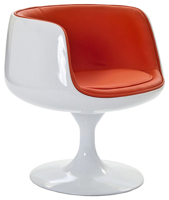 MODERN WHITE FIBERGLASS LOUNGE CHAIR WITH ORANGE SEAT CUPPO - Midcentury - Armchairs And Accent ...