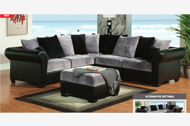 F gray black champion fabric leather sectional sofa for Black and grey couch