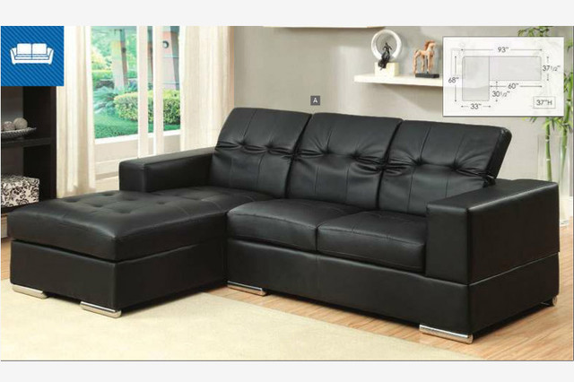 modern small black leather sectional sofa chaise roll back