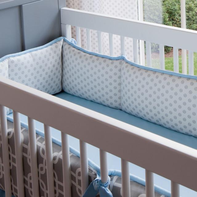 Gray Geometric Crib Bumper Contemporary Baby Bedding