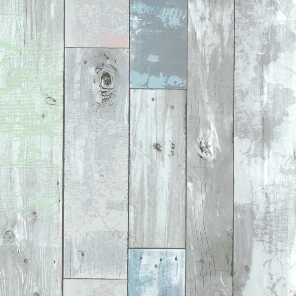 Dean Blue Distressed Wood Panel Wallpaper Rustic