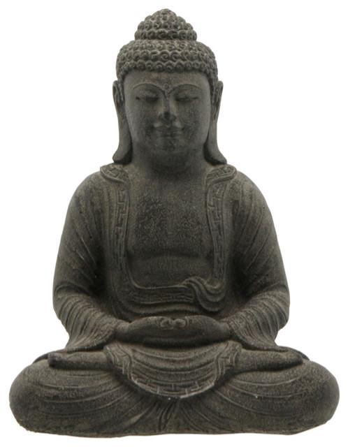 Charcoal Grey Cast Stone Garden Buddha Statue asian-garden-statues-and-yard-art
