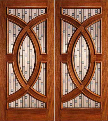 Mahogany prehung double front doors with circle decorative for Decorative glass for entry doors