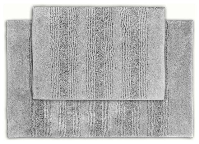 Westport Stripe Stormy Seas Washable 2-piece Bath Rug Set contemporary-bath-mats