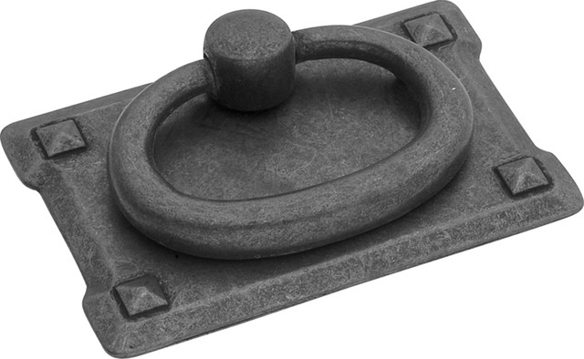 Hickory Hardware 2-3/4 In. Old Mission Black Mist Antique Ring Cabinet Pull - Transitional ...