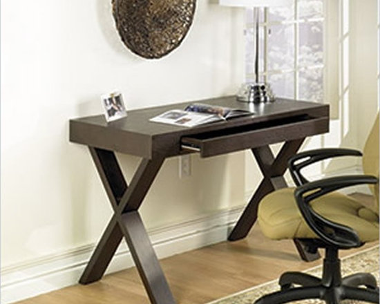 Ave Six Lane Wood Laptop Desk in Espresso - Bring home the contemporary beauty and functionality of the Avenue Six Lane Desk. This lovely espresso finish modern home computer desk features a spacious pull-out keyboard drawer with dropdown front and sturdy solid wood and wood veneer construction.