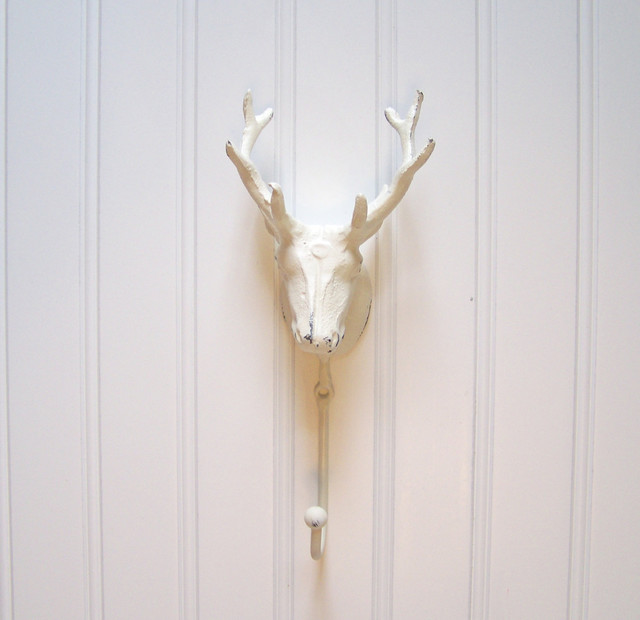 Cast Iron Deer Head Wall Hook Refinished in Shabby Creamy White by The Door Stop eclectic hooks and hangers