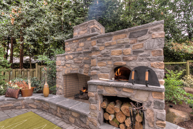 outdoor fireplace with pizza oven traditional portland by paradise restored landscaping. Black Bedroom Furniture Sets. Home Design Ideas