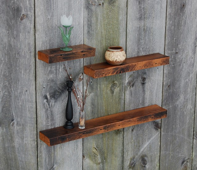 Vintage White Oak Floating Shelves - Rustic - Display And Wall Shelves - other metro - by ...