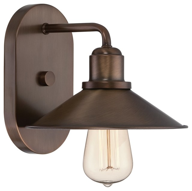 Industrial Bathroom Wall Sconces : Designers Fountain Newbury Station Bath / Vanity / Wall Sconce with Metal Shade, - Industrial ...