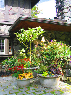 landscaping ideas can be simple with gardening in large & small pots