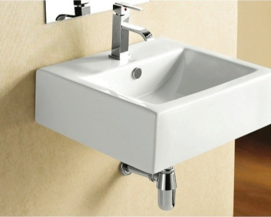 "Caracalla - Simple Modern Square Wall Mounted or Vessel Bathroom Sink - Simple and stylish modern white ceramic bathroom sink with overflow. Sink comes with the option of a single faucet hole (as shown) or 3 holes. Sink can be installed and used as either a wall mounted sink or vessel washbasin. It is designed in Italy by Caracalla and is suitable for any modern bathroom. Sink dimensions: 20.47"" (width), 7.09"" (height), 18.11"" (depth)"
