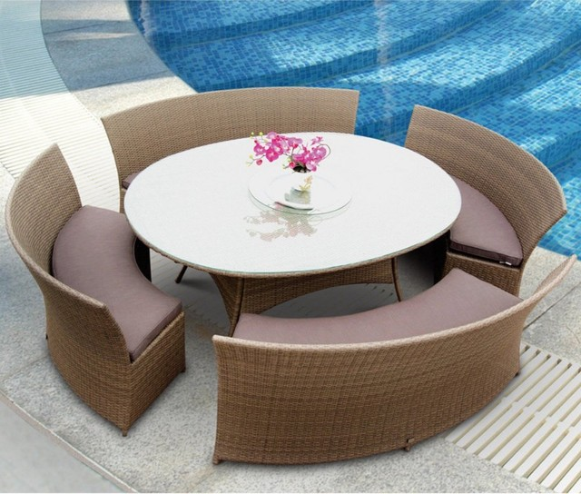 Tosh Furniture 5 Piece Brown Outdoor Dining Set modern-dining-tables