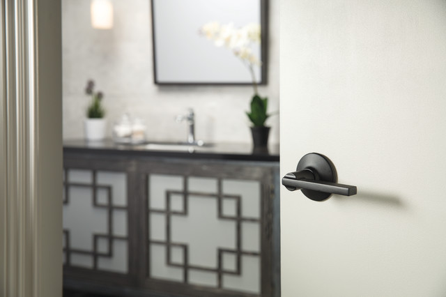 Contemporary Bathroom Accessorized With Schlage Latitude