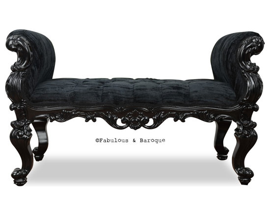 Fabulous & Baroque - Fabulous and Baroque's Absolom Roche Bench - Feast your eyes upon the decadence and true luxury of Fabulous & Baroque's ultimate collection of furniture! Exclusive to Fabulous & Baroque, this striking Absolom Roche bench defines opulence! Created to make a statement, this regal bench invites you to hold court in its divine hand carved curves. Finished black lacquer and upholstered in luxurious crushed black velvet, this bench is a stylish compliment to any bedroom, entry or any place you see fit!